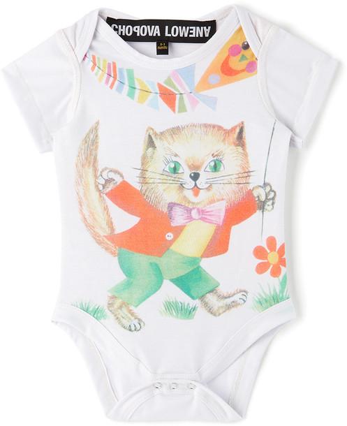 Chopova Lowena SSENSE Exclusive Baby White Cat Jersey Jumpsuit in print