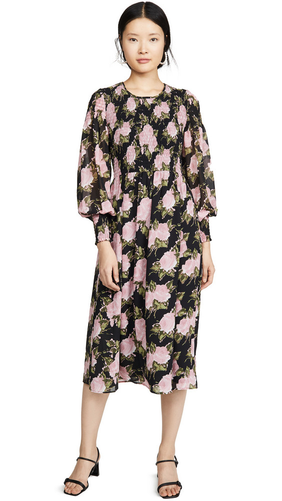 WAYF Crushed Smocked Bodice Midi Dress in black / rose