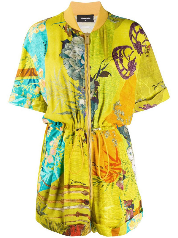Dsquared2 floral print playsuit in yellow