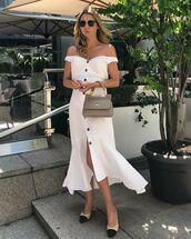 dress,white dress,midi dress,off the shoulder,slingbacks,handbag