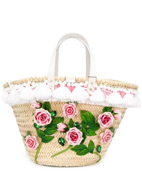Dolce & Gabbana Kendra floral appliqué tote bag in neutrals