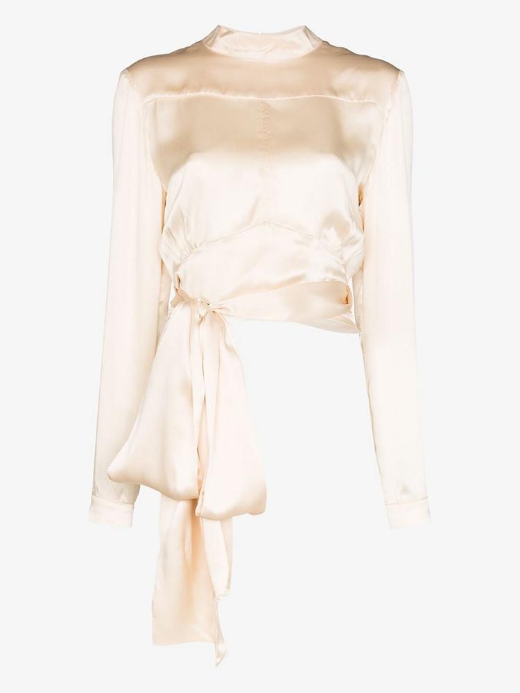 Le Kasha Yutian silk tie waist top in neutrals