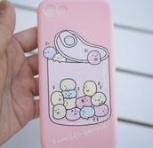 phone cover,pink,kawaii,cute,japan,sumikko gurashi,iphone case