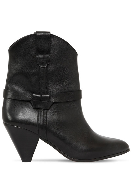 ISABEL MARANT 75mm Deane Leather Cowboy Boots in black
