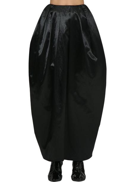 MARINE SERRE High Waist Satin Maxi Puff Skirt in black