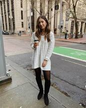 sweater,white sweater,cable knit,v neck,h&m,tights,knee high boots,black boots