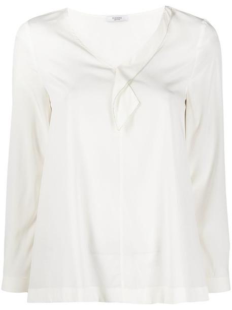 Peserico v-neck silk-blend blouse in white