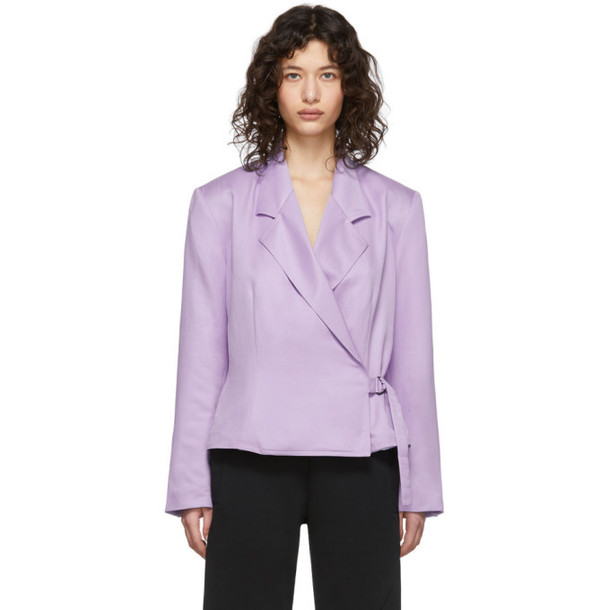 Pyer Moss Purple Wrap Blazer