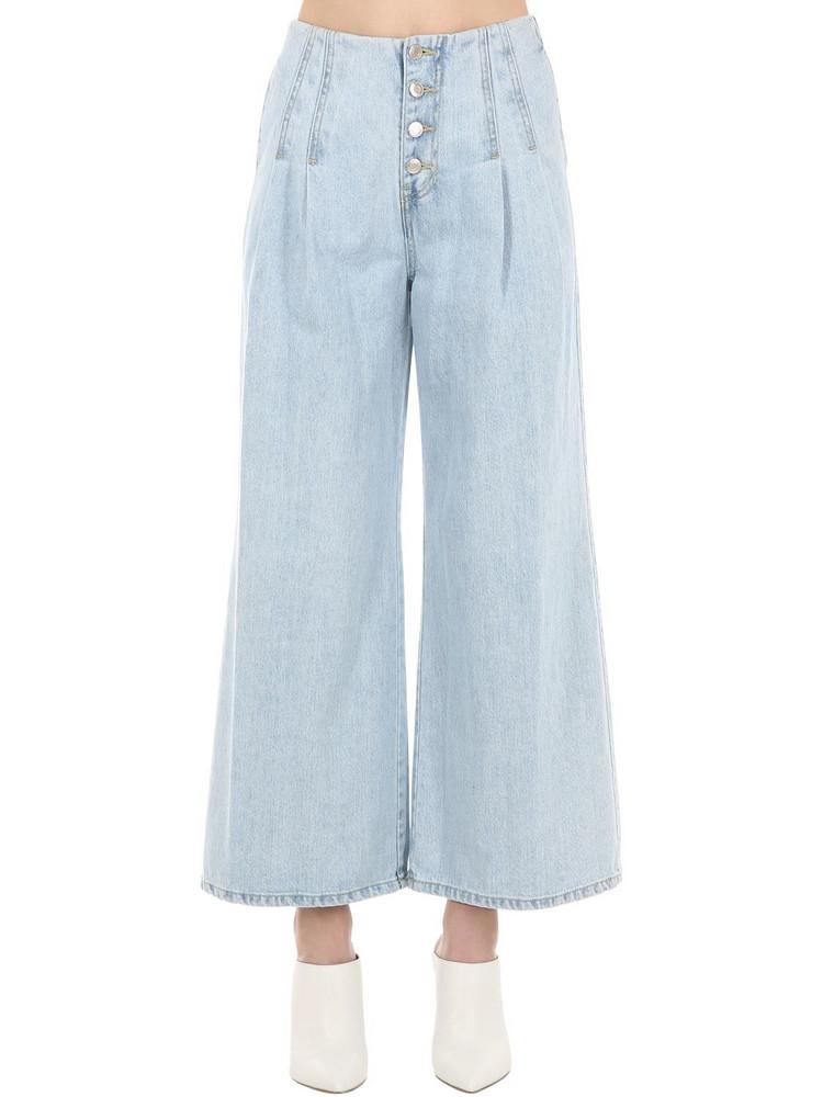 SJYP Wide Leg Denim Jeans W/ Dart Details in blue
