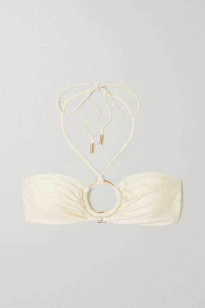 Cult Gaia - Myra Embellished Halterneck Bikini Top - Off-white