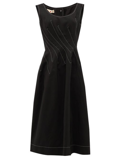 Marni - Topstitched Ramie-blend Crepe Midi Dress - Womens - Black