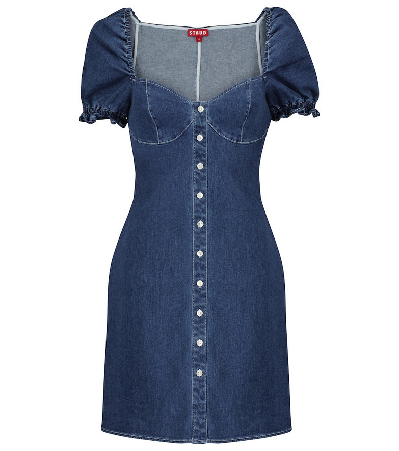 Staud Sur denim mini dress in blue