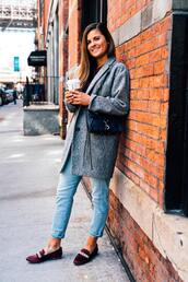 to be bright,blogger,coat,sweater,shoes,bag,loafers,grey coat,spring outfits