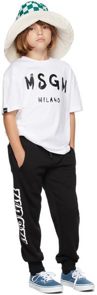 MSGM Kids Kids Black Logo Lounge Pants in nero