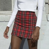 skirt,tight,red,plaid