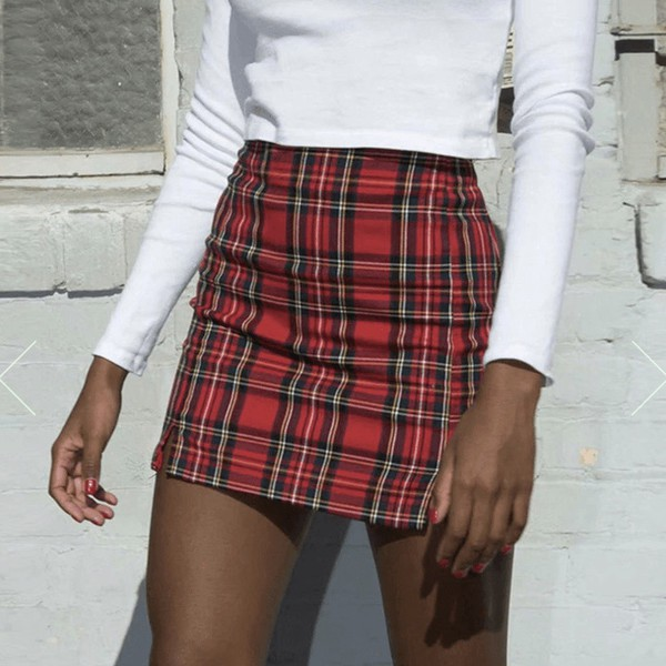 skirt tight red plaid