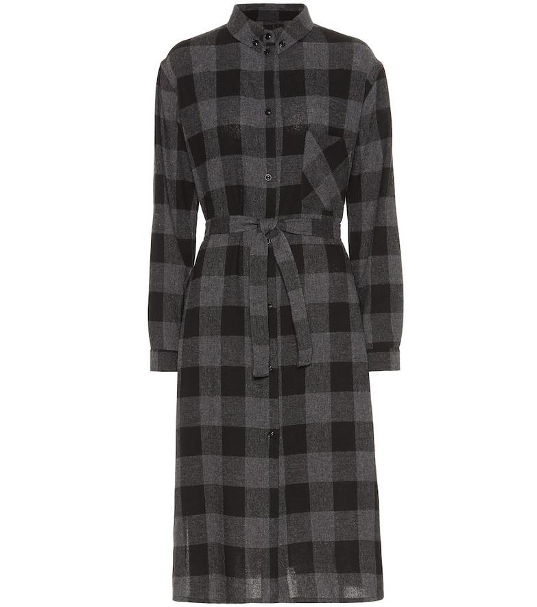 Woolrich Checked wool-blend midi dress in grey