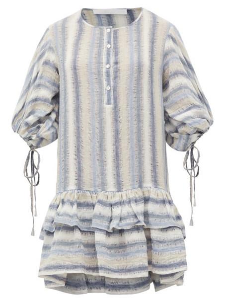 Love Binetti - Only Yesterday Striped Cotton Mini Dress - Womens - Blue Stripe