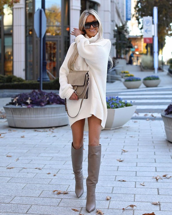 sweater oversized sweater over the knee boots white sweater bag