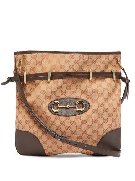 Gucci - 1955 Gg-jacquard Horsebit Shoulder Bag - Womens - Beige Multi