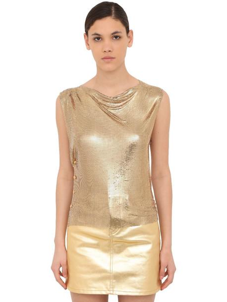 PACO RABANNE Sleeveless Mini Mesh Top in gold