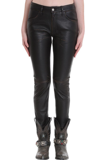 Golden Goose Jolly Pants In Black Leather