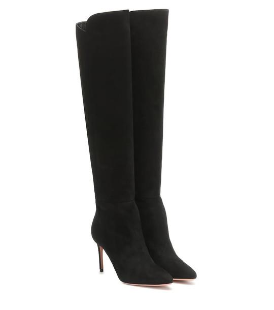 Aquazzura Gainsbourg 85 suede boots in black