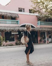 bag,round bag,woven bag,flat sandals,black dress,midi dress