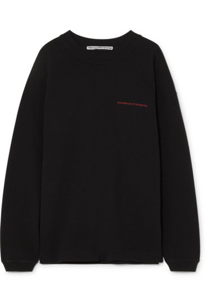 Alexander Wang - Chinatown Embroidered Cotton-jersey Sweatshirt - Black