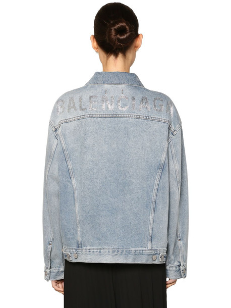 BALENCIAGA Crystal Logo Cotton Denim Jacket in blue