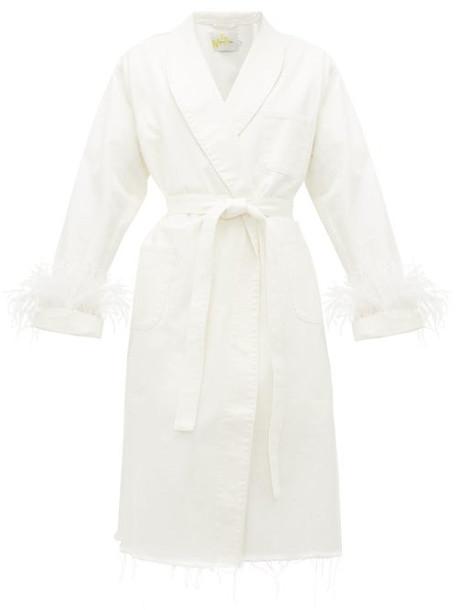 Marques'almeida - Feather-cuff Denim Dressing Gown Coat - Womens - White