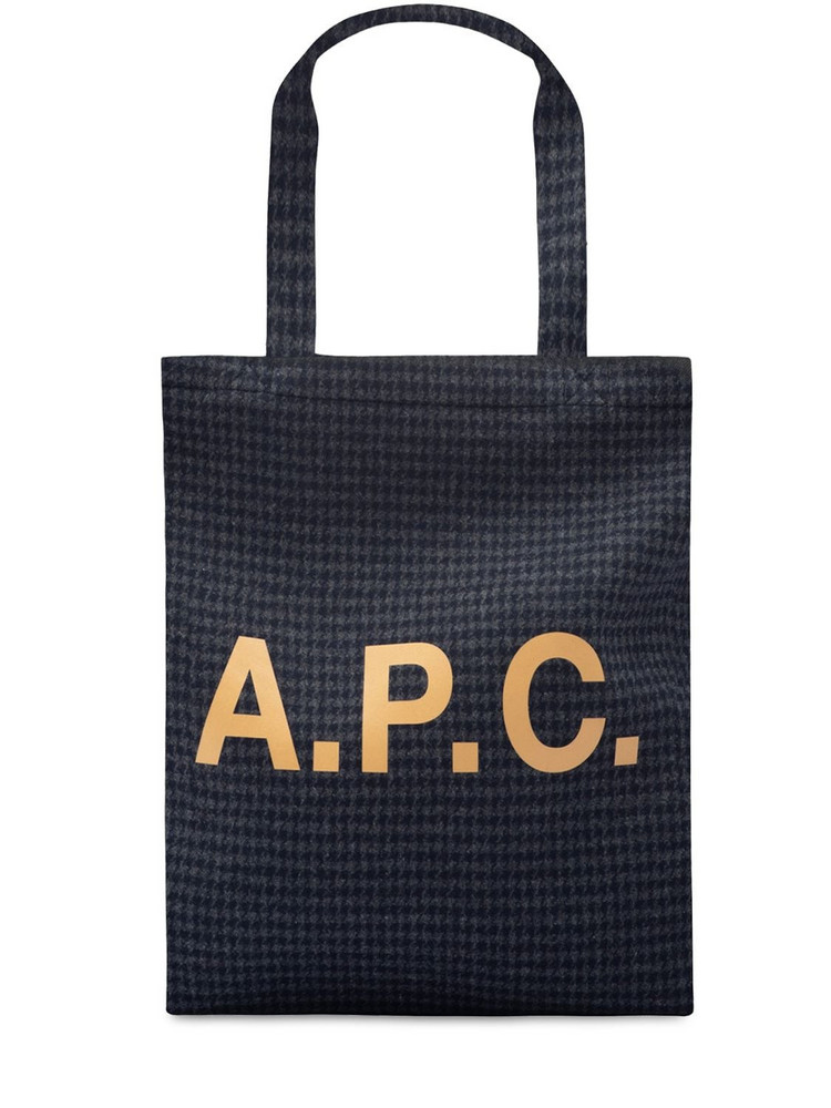 A.P.C. Small Lou Logo Printed Tech Tote Bag in navy