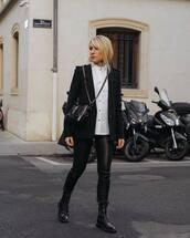 pants,black leggings,black boots,lace up boots,black blazer,white shirt,black bag,chanel bag,crossbody bag