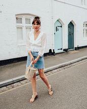top,blouse,long sleeves,denim skirt,sandal heels,bucket bag