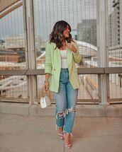 jacket,blazer,double breasted,high waisted jeans,ripped jeans,cropped,sandal heels,white bag,white top