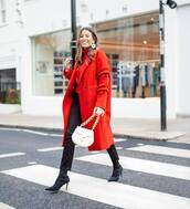 bag,white bag,chloe,sock boots,heel boots,black jeans,red coat,double breasted,oversized coat,turtleneck sweater,red sweater