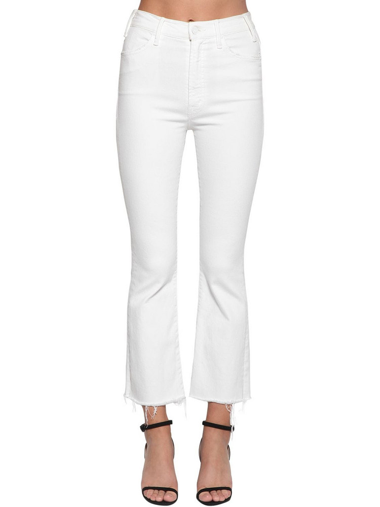 MOTHER The Hustler Frayed Ankle Denim Jeans in ivory