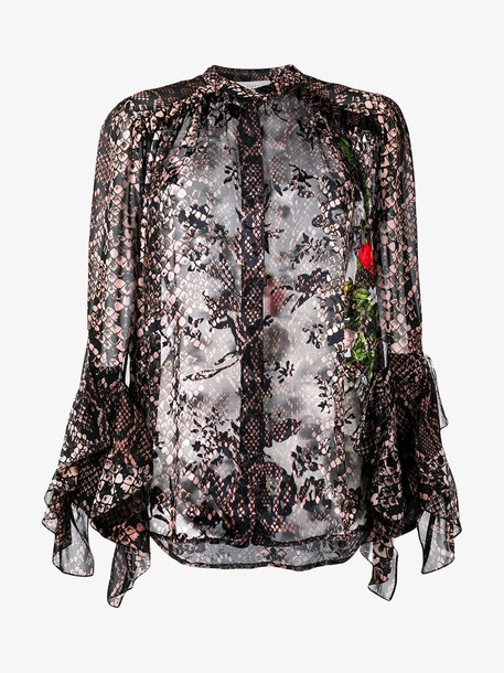Preen By Thornton Bregazzi floral and snakeskin print blouse