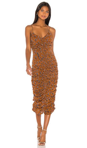 NICHOLAS Gathered Slip Dress in Brown