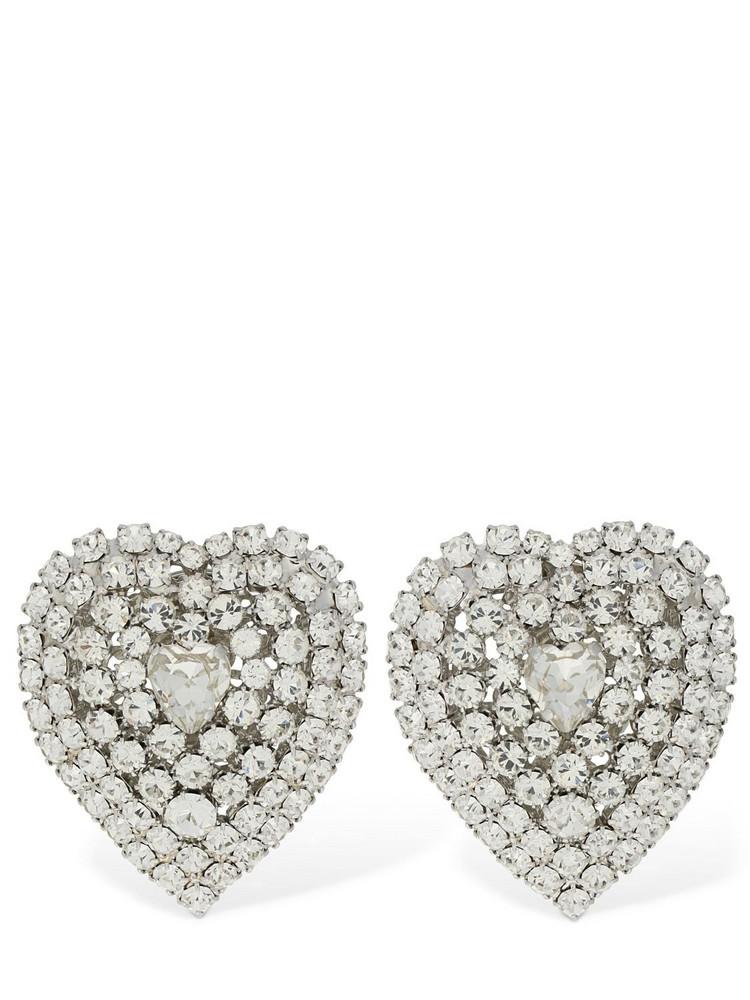 ALESSANDRA RICH Mini Crystal Heart Clip-on Earrings in silver