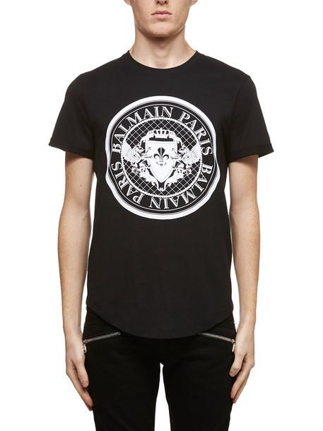 Balmain Round Logo T-shirt in nero / bianco