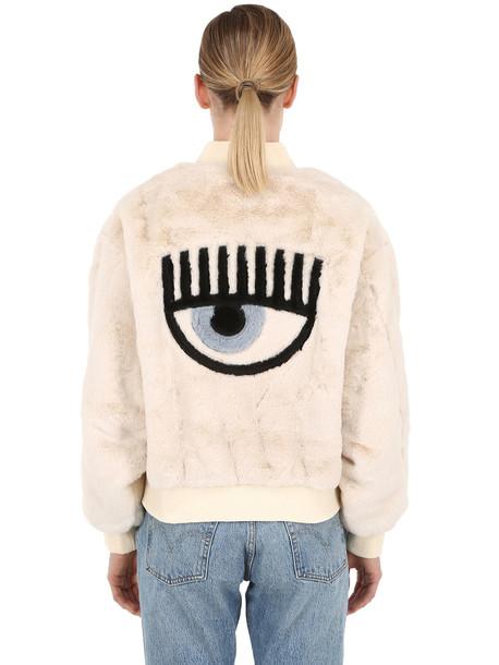 CHIARA FERRAGNI Eye Patch Faux Fur Bomber Jacket in white