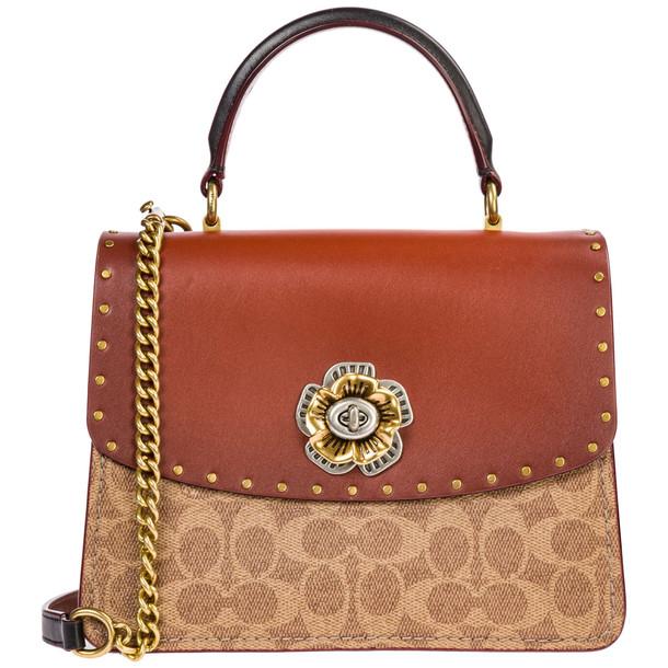 Coach Leather Handbag Shopping Bag Purse Parker in nero