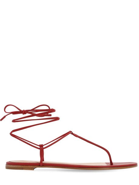 GIANVITO ROSSI 10mm Leather Thong Sandals in red