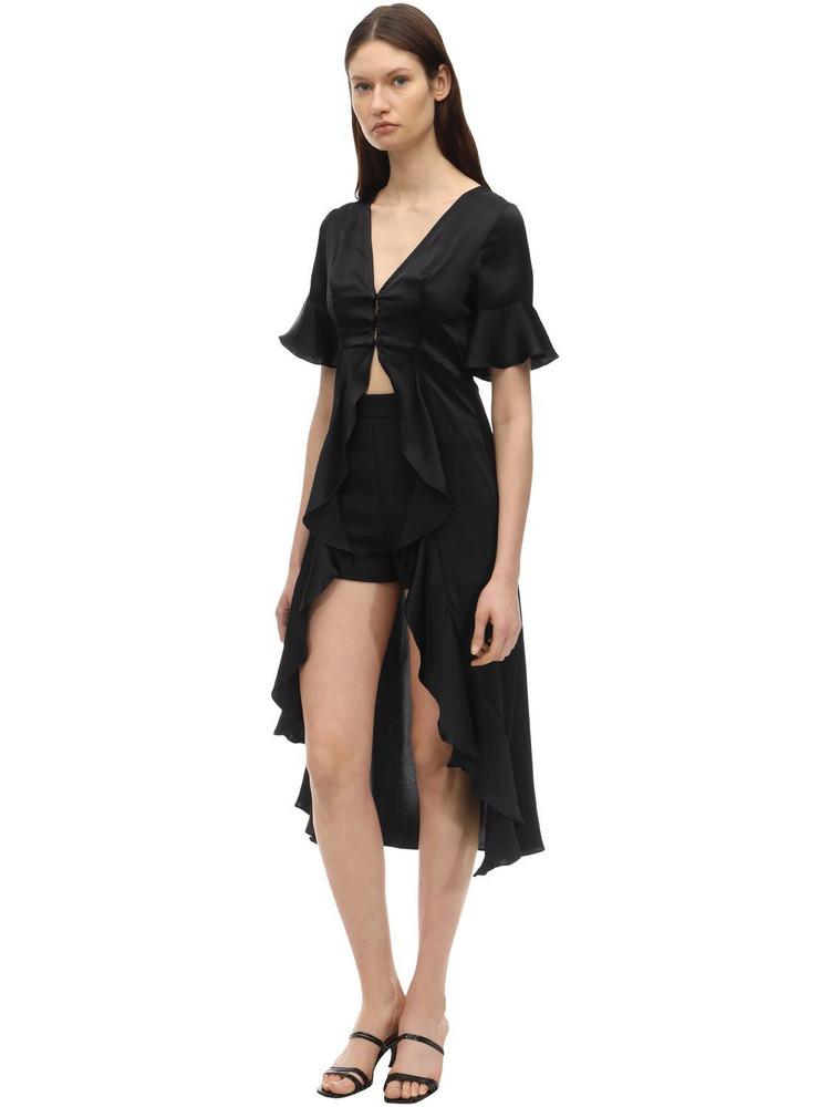 AYA MUSE Nyx Satin Highlow Shirt in black