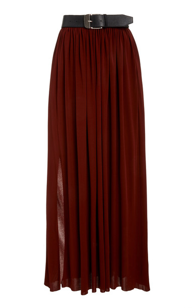 Proenza Schouler Belted Jersey Maxi Skirt in brown