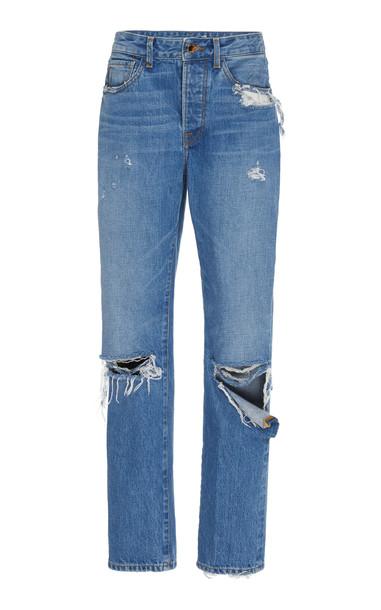 Brandon Maxwell Distressed High-Rise Boyfriend Jeans Size: 0 in blue