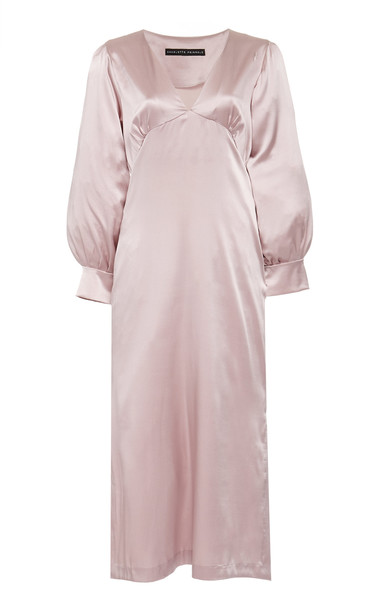 Charlotte Pringels Alison Silk Long V-Neck Dress Size: 34 in purple