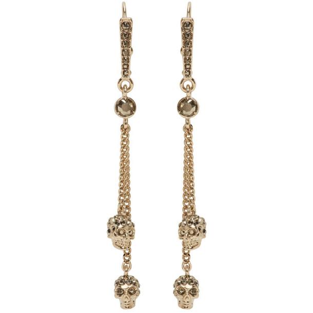 Alexander McQueen Gold Skull Chain Earrings