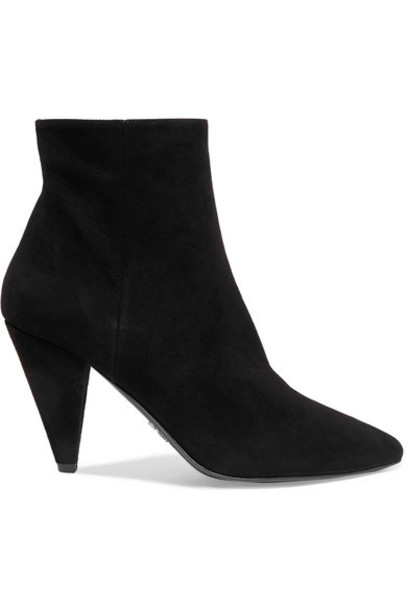 Prada - 90 Suede Ankle Boots - Black